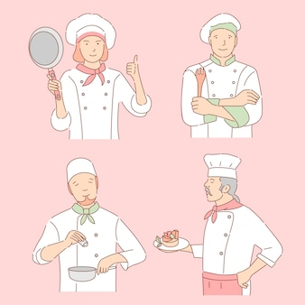 Шеф-повара с иллюстрацией шаржа кулинарных инструментов. женщина и мужчины в погонах, сотрудники ресторана намечают персонажей.