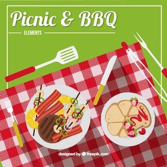 Cheked布のwihピクニックやバーベキュー