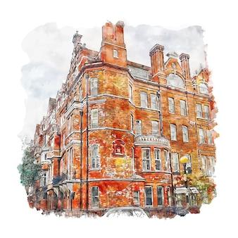Челси лондон акварельный эскиз рисованной иллюстрации