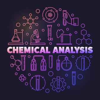Chemical analysis colorful round outline icon illustration