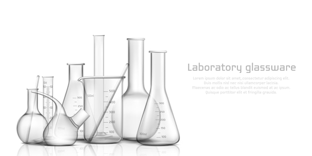 Chemical, biological science laboratory glassware collection