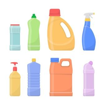 Химические чистые бутылки, изолированные на белом фоне