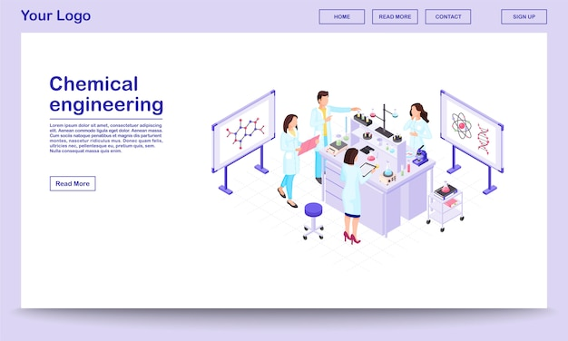 Chemical engineering isometric webpage template. biochemistry researchers making tests in beakers.
