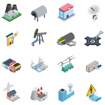 Chemical enterprise icon set