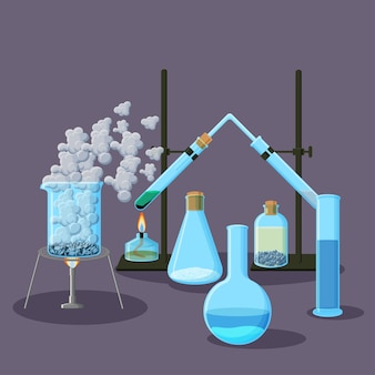 Chemical equipment and experiments abstract background