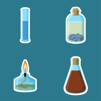 Chemical equipment stickers isolated on blue background.