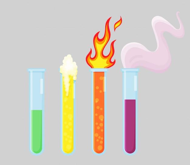化学実験室の機器セット。ビーカー、火と煙。化学研究所の収集品