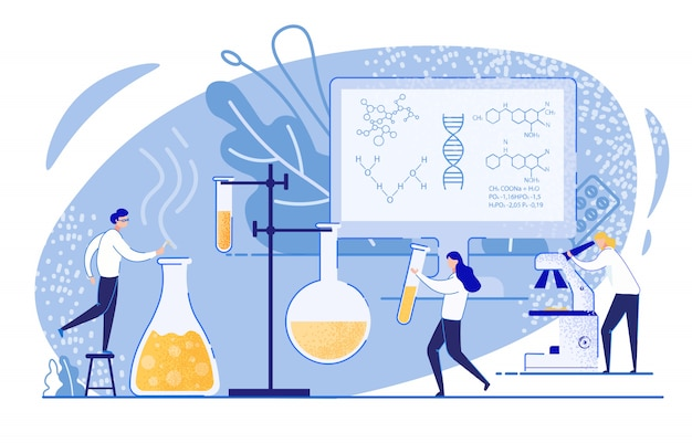 Chemical experiments in pharmaceutical industry.