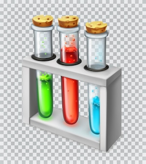 Chemical flask, test tube. 3d vector icon