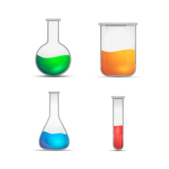Chemical flasks on white