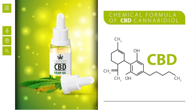 Chemical formula of cbd cannabidiol and cbd oil bottle with pipette.