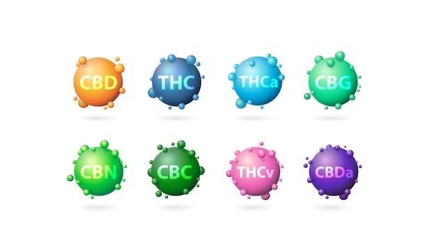 マリファナの葉の化学式、マリファナの葉の3d化学元素のコレクション