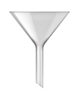 화학 유리 깔때기. 실험을 위한 의료 약국 또는 생물학 실험실 필터 장비, 액체 여과를 위한 3d 실험실 유리, 투명한 배경에 격리된 벡터 현실적인 그림