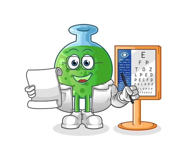 The chemical glass oculist character mascot