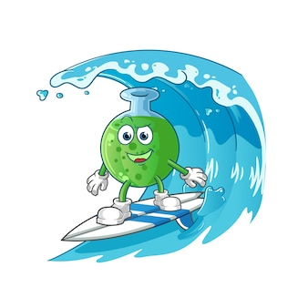 The chemical glass surfing character mascot