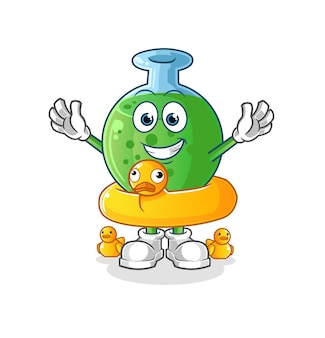 The chemical glass with duck buoy character mascot