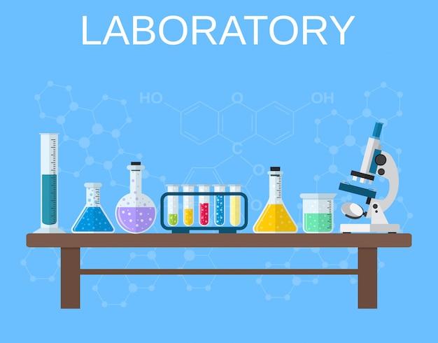 Химическая посуда, лаборатория. Premium векторы