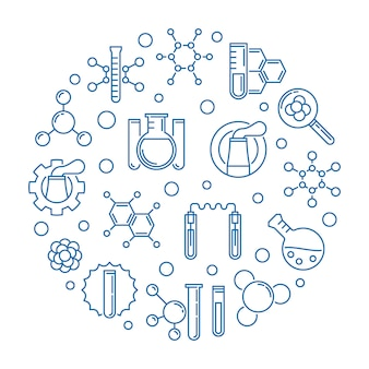 Chemical industry blue round outline illustration