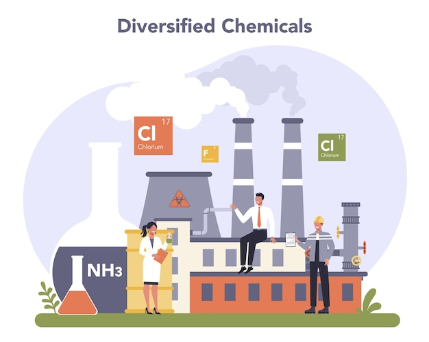 化学産業の概念。工業化学および化学製品の生産。