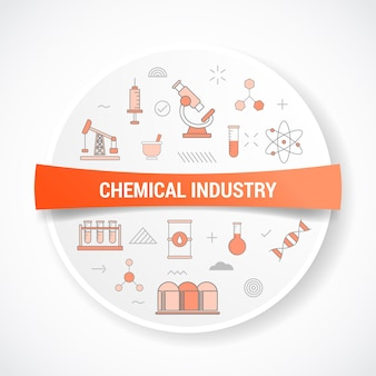 Chemical industry with icon concept with round or circle shape