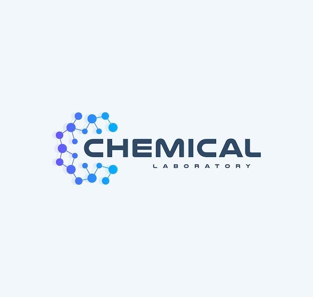 화학 혁신 기술 로고 플랫 만화 스타일 벡터 로고 개념 라운드 격자 노드