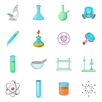 Chemical lab icons set