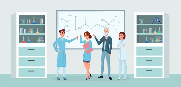 Chemical lab workers meeting flat illustrations