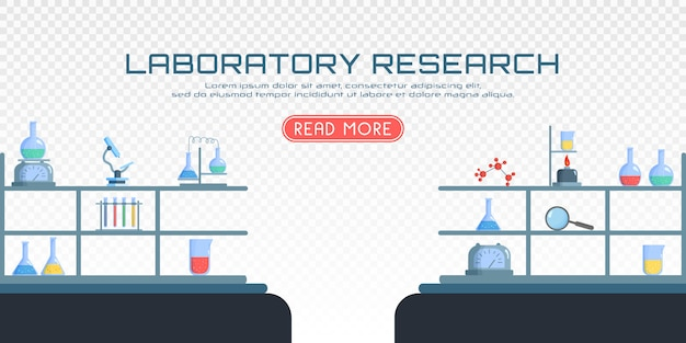 Chemical laboratory biology of science and technology. biology science education the study virus, molecule, atom, dna. flask, microscope, magnifier, telescope.