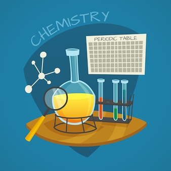 Chemical laboratory cartoon icons set