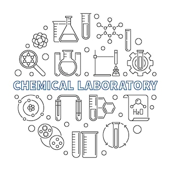 Chemical laboratory concept round outline icon illustration