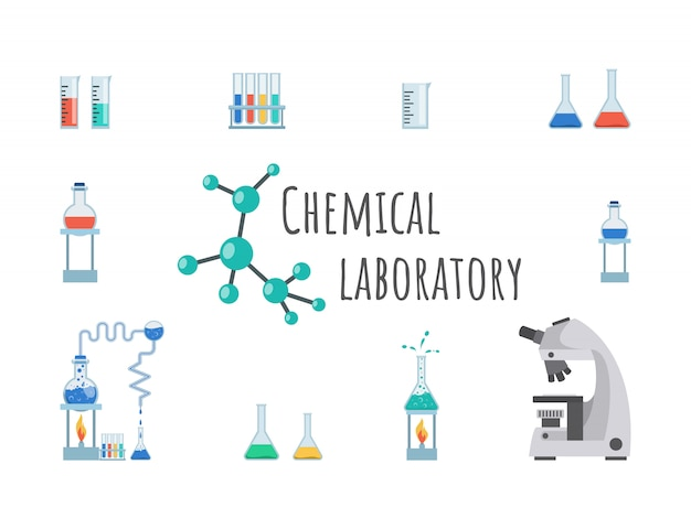 Chemical laboratory equipment banner template. lab glassware, beakers, flasks and test tubes