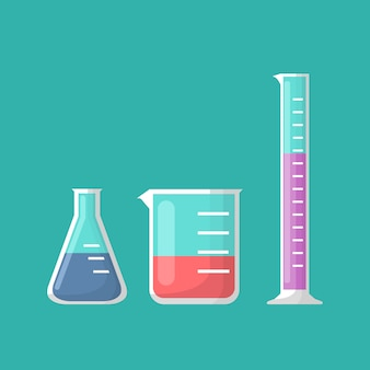 Chemical laboratory equipment, erlenmeyer flask, beaker and test tube vector