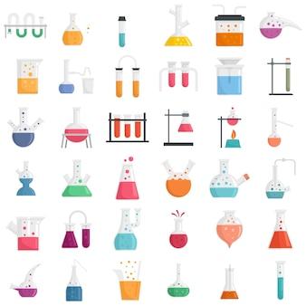 화학 실험실 실험 아이콘을 설정합니다. 흰색 배경에 고립 된 화학 실험실 실험 벡터 아이콘의 평면 세트