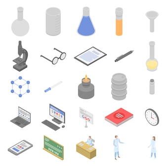 Chemical laboratory experiment icons set, isometric style