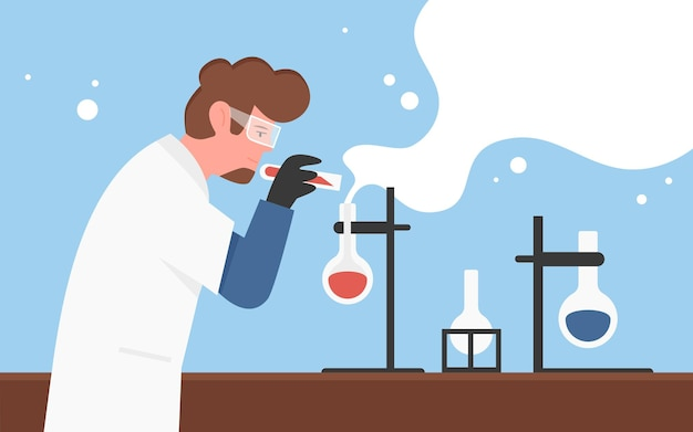 Chemical laboratory experiment science research concept with chemist man scientist