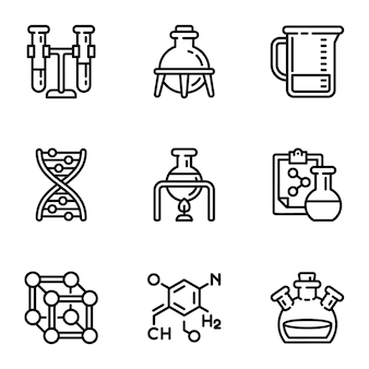 Chemical laboratory icon set. outline set of 9 chemical laboratory icons