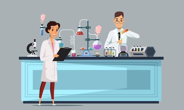 화학 실험실 그림 실험을하는 화학자 의료 및 과학 실험실 프리미엄 벡터
