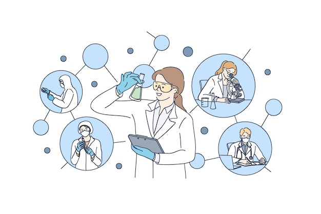 化学実験室試験と研究コンセプトの図