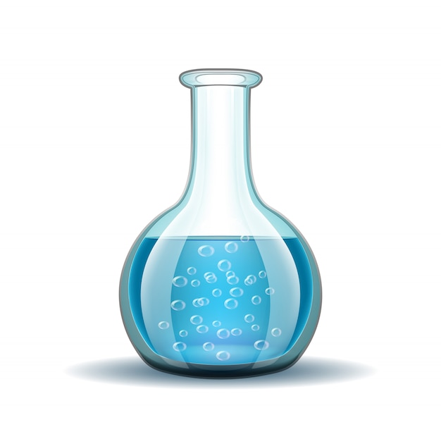 白で隔離される青い液体の化学実験室透明フラスコ。