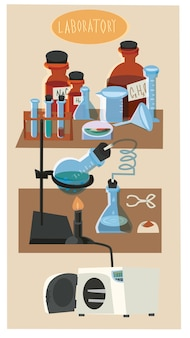 Chemical objects and tubes illustration vector