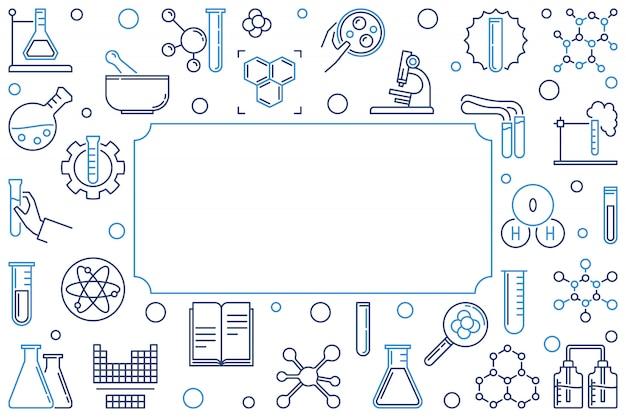 화학 개요 가로 배너 또는 프레임입니다. 삽화