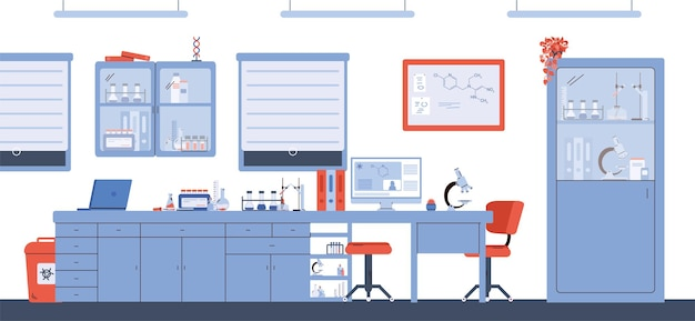 Chemical or pharmaceutical research laboratory cartoon vector illustration
