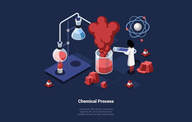 Chemical process illustration in cartoon 3d style on blue dark. isometric composition of male scientist making experiment with red substance