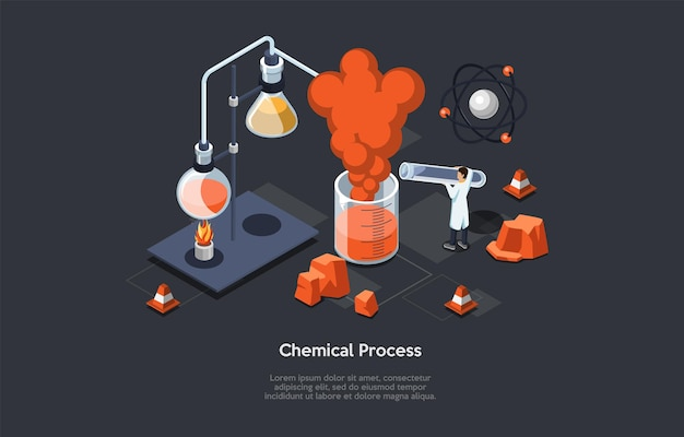 Chemical process illustration of scientific concept