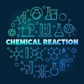 Химическая реакция вектор синий круглый контур иллюстрации. концепция химии фон на темном фоне