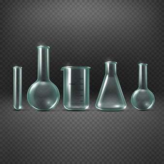 Chemical realistic test tubes set. beaker glass for analysis and medicine experiment