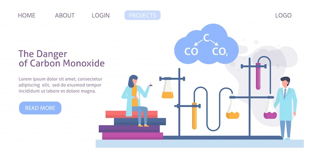 Chemical research in ecology of polluted city with scientists people and chemical formula of air polution web site template illustration.