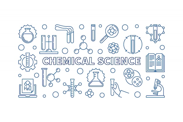 Chemical science minimal outline horizontal banner