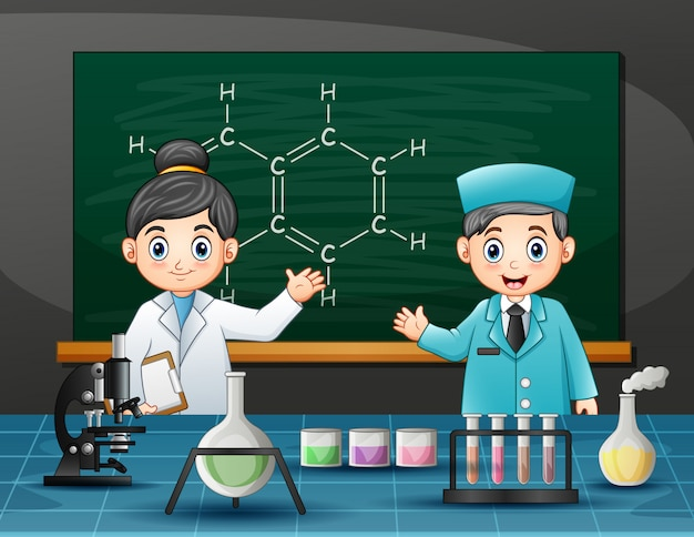 Chemical scientist male and female in laboratory