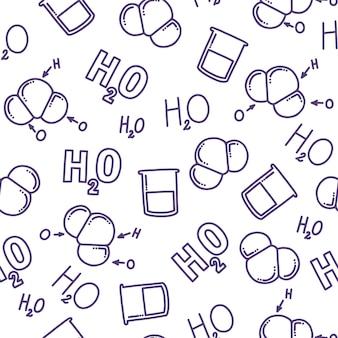 H2oを使用した化学的シームレスパターン水の異なる表現水の化学式